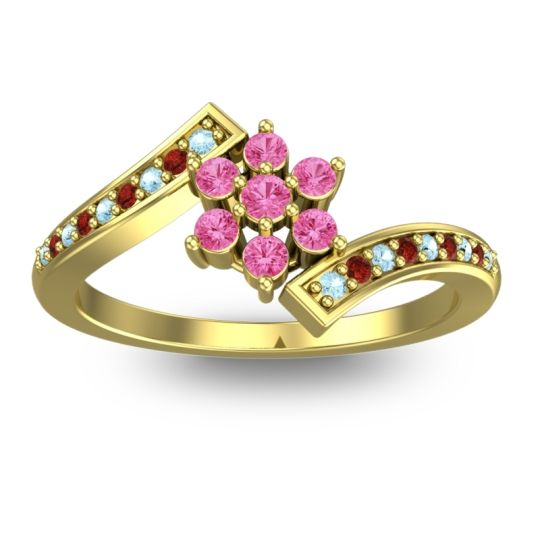 Pink Tourmaline Simple Floral Pave Utpala Ring with Aquamarine and Garnet in 14k Yellow Gold