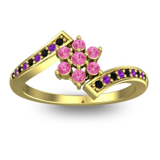 Simple Floral Pave Utpala Pink Tourmaline Ring with Black Onyx and Amethyst in 14k Yellow Gold