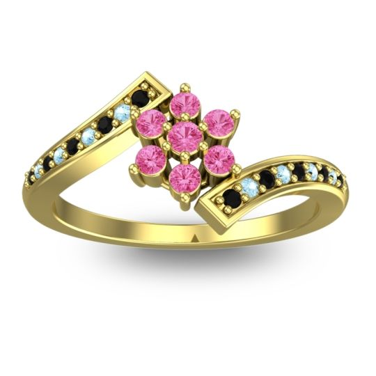 Simple Floral Pave Utpala Pink Tourmaline Ring with Black Onyx and Aquamarine in 14k Yellow Gold