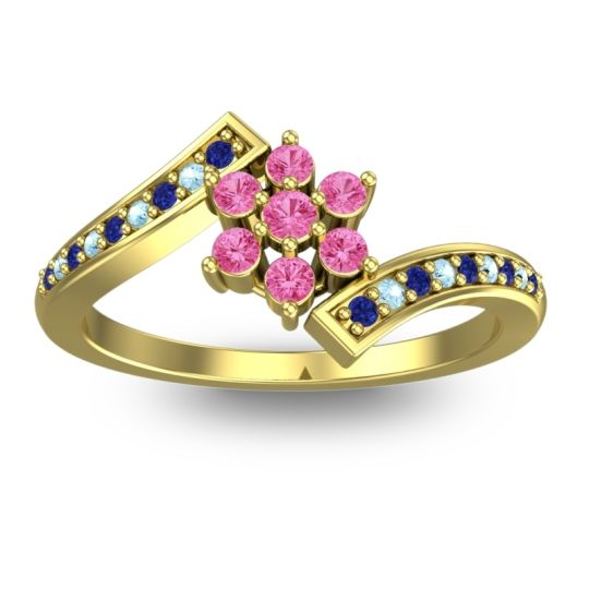 Simple Floral Pave Utpala Pink Tourmaline Ring with Blue Sapphire and Aquamarine in 14k Yellow Gold