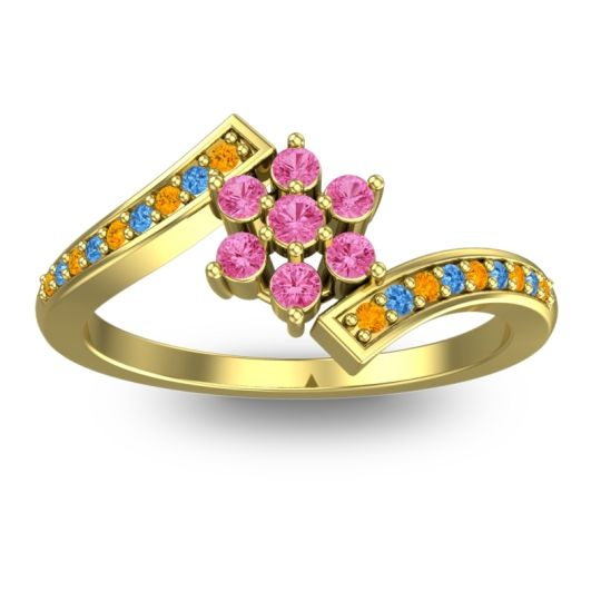 Pink Tourmaline Simple Floral Pave Utpala Ring with Citrine and Swiss Blue Topaz in 14k Yellow Gold