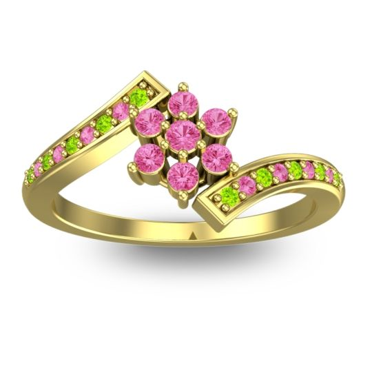 Pink Tourmaline Simple Floral Pave Utpala Ring with Peridot in 14k Yellow Gold