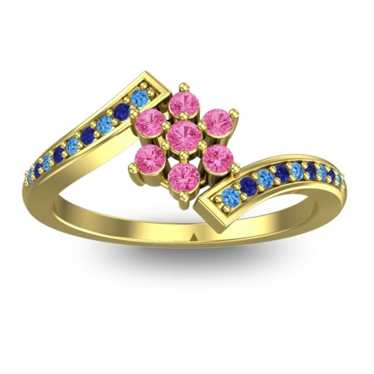Pink Tourmaline Simple Floral Pave Utpala Ring with Swiss Blue Topaz and Blue Sapphire in 18k Yellow Gold
