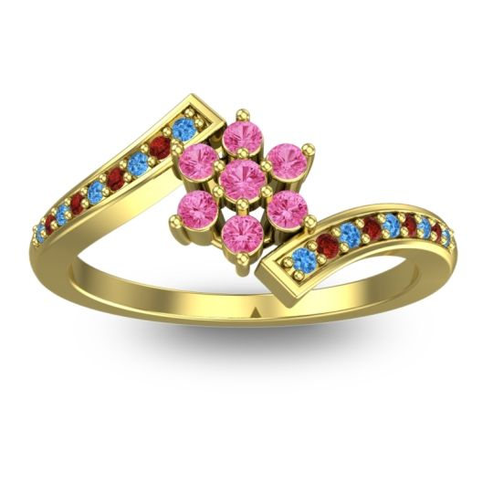 Pink Tourmaline Simple Floral Pave Utpala Ring with Swiss Blue Topaz and Garnet in 14k Yellow Gold