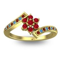 Simple Floral Pave Utpala Ruby Ring with Garnet and Swiss Blue Topaz in 18k Yellow Gold