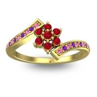 Simple Floral Pave Utpala Ruby Ring with Pink Tourmaline and Amethyst in 18k Yellow Gold