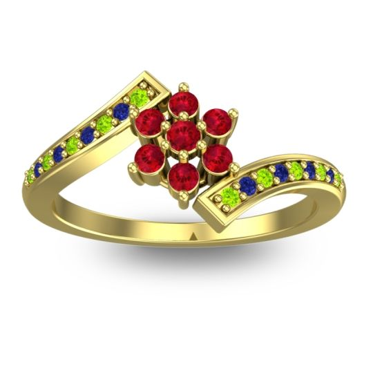 Simple Floral Pave Utpala Ruby Ring with Peridot and Blue Sapphire in 14k Yellow Gold