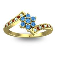 Simple Floral Pave Utpala Swiss Blue Topaz Ring with Aquamarine and Garnet in 14k Yellow Gold