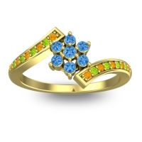 Simple Floral Pave Utpala Swiss Blue Topaz Ring with Citrine and Peridot in 18k Yellow Gold