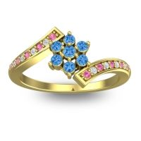 Simple Floral Pave Utpala Swiss Blue Topaz Ring with Pink Tourmaline and Diamond in 18k Yellow Gold