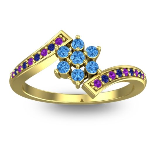 Simple Floral Pave Utpala Swiss Blue Topaz Ring with Amethyst and Blue Sapphire in 14k Yellow Gold