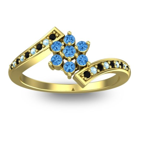 Simple Floral Pave Utpala Swiss Blue Topaz Ring with Black Onyx and Aquamarine in 18k Yellow Gold