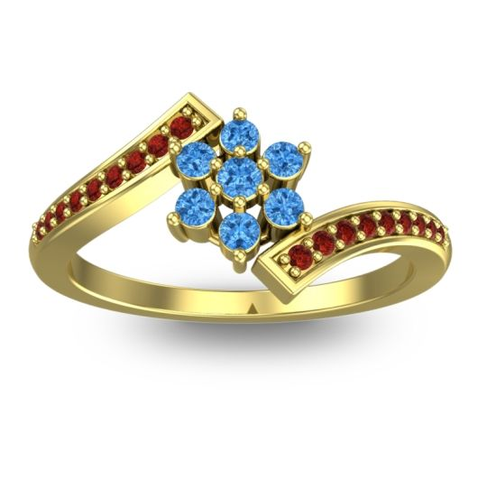 Simple Floral Pave Utpala Swiss Blue Topaz Ring with Garnet in 14k Yellow Gold
