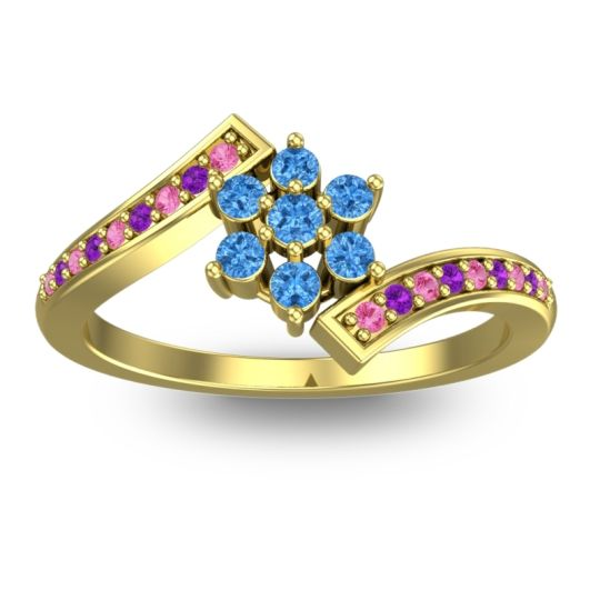 Simple Floral Pave Utpala Swiss Blue Topaz Ring with Pink Tourmaline and Amethyst in 18k Yellow Gold