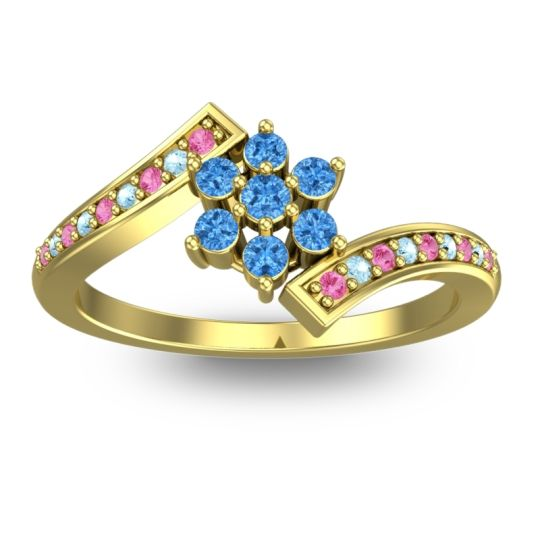 Simple Floral Pave Utpala Swiss Blue Topaz Ring with Pink Tourmaline and Aquamarine in 18k Yellow Gold
