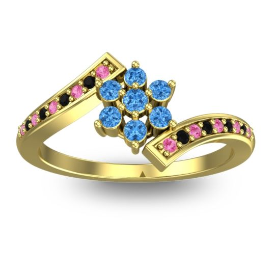 Simple Floral Pave Utpala Swiss Blue Topaz Ring with Pink Tourmaline and Black Onyx in 18k Yellow Gold