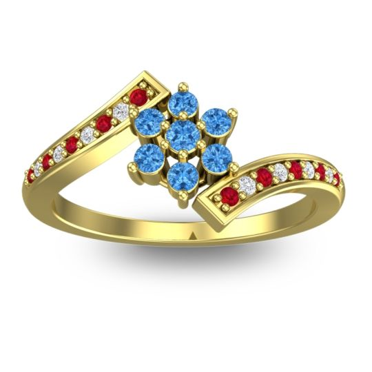 Simple Floral Pave Utpala Swiss Blue Topaz Ring with Ruby and Diamond in 18k Yellow Gold
