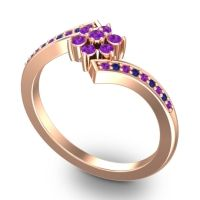 Simple Floral Pave Utpala Amethyst Ring with Blue Sapphire in 18K Rose Gold