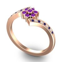 Simple Floral Pave Utpala Amethyst Ring with Blue Sapphire and Diamond in 18K Rose Gold