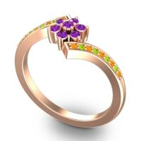 Simple Floral Pave Utpala Amethyst Ring with Citrine and Peridot in 18K Rose Gold
