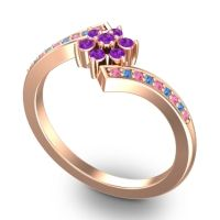 Simple Floral Pave Utpala Amethyst Ring with Pink Tourmaline and Swiss Blue Topaz in 18K Rose Gold