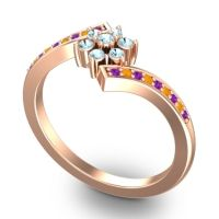 Simple Floral Pave Utpala Aquamarine Ring with Amethyst and Citrine in 14K Rose Gold