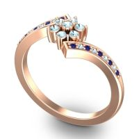 Simple Floral Pave Utpala Aquamarine Ring with Blue Sapphire in 18K Rose Gold
