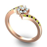 Simple Floral Pave Utpala Aquamarine Ring with Peridot and Black Onyx in 14K Rose Gold