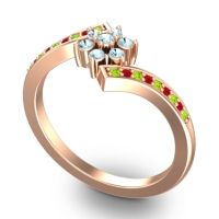 Simple Floral Pave Utpala Aquamarine Ring with Peridot and Ruby in 14K Rose Gold