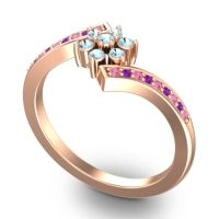 Simple Floral Pave Utpala Aquamarine Ring with Pink Tourmaline and Amethyst in 14K Rose Gold
