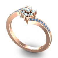 Simple Floral Pave Utpala Aquamarine Ring with Swiss Blue Topaz in 14K Rose Gold