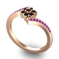 Simple Floral Pave Utpala Black Onyx Ring with Amethyst in 14K Rose Gold