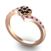 Simple Floral Pave Utpala Black Onyx Ring with Amethyst and Aquamarine in 18K Rose Gold