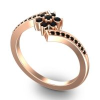 Simple Floral Pave Utpala Black Onyx Ring in 14K Rose Gold