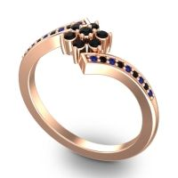 Simple Floral Pave Utpala Black Onyx Ring with Blue Sapphire in 18K Rose Gold