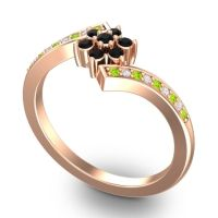 Simple Floral Pave Utpala Black Onyx Ring with Peridot and Diamond in 18K Rose Gold