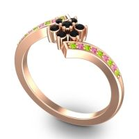 Simple Floral Pave Utpala Black Onyx Ring with Peridot and Pink Tourmaline in 18K Rose Gold