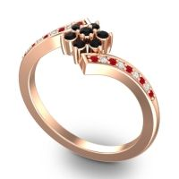 Simple Floral Pave Utpala Black Onyx Ring with Ruby and Diamond in 18K Rose Gold