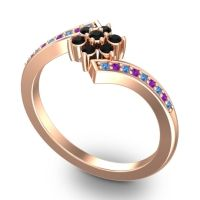 Simple Floral Pave Utpala Black Onyx Ring with Swiss Blue Topaz and Amethyst in 14K Rose Gold