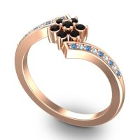 Simple Floral Pave Utpala Black Onyx Ring with Swiss Blue Topaz and Aquamarine in 14K Rose Gold