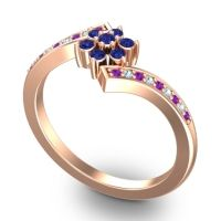 Simple Floral Pave Utpala Blue Sapphire Ring with Amethyst and Aquamarine in 14K Rose Gold