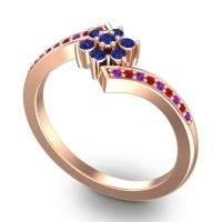 Simple Floral Pave Utpala Blue Sapphire Ring with Amethyst and Ruby in 18K Rose Gold