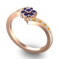 Simple Floral Pave Utpala Blue Sapphire Ring with Aquamarine and Citrine in 14K Rose Gold
