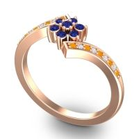 Simple Floral Pave Utpala Blue Sapphire Ring with Citrine and Diamond in 14K Rose Gold