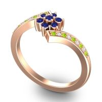 Simple Floral Pave Utpala Blue Sapphire Ring with Peridot and Diamond in 18K Rose Gold