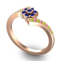 Simple Floral Pave Utpala Blue Sapphire Ring with Peridot and Pink Tourmaline in 14K Rose Gold