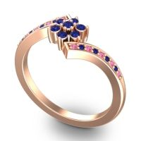 Simple Floral Pave Utpala Blue Sapphire Ring with Pink Tourmaline in 14K Rose Gold