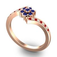 Simple Floral Pave Utpala Blue Sapphire Ring with Ruby and Diamond in 14K Rose Gold