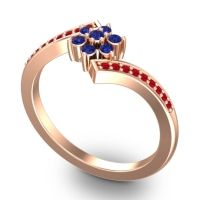Simple Floral Pave Utpala Blue Sapphire Ring with Ruby in 18K Rose Gold