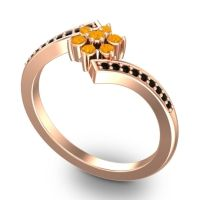 Simple Floral Pave Utpala Citrine Ring with Black Onyx in 18K Rose Gold